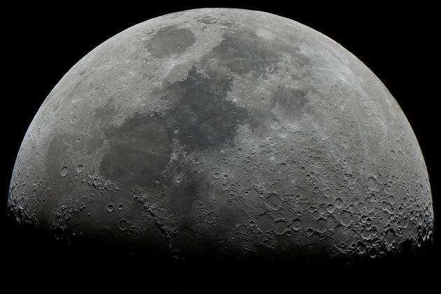 The first quarter of the moon