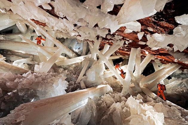 Beautiful cave in Naica with Crystals