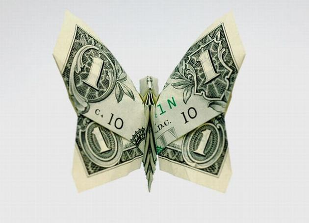butterfly origami money