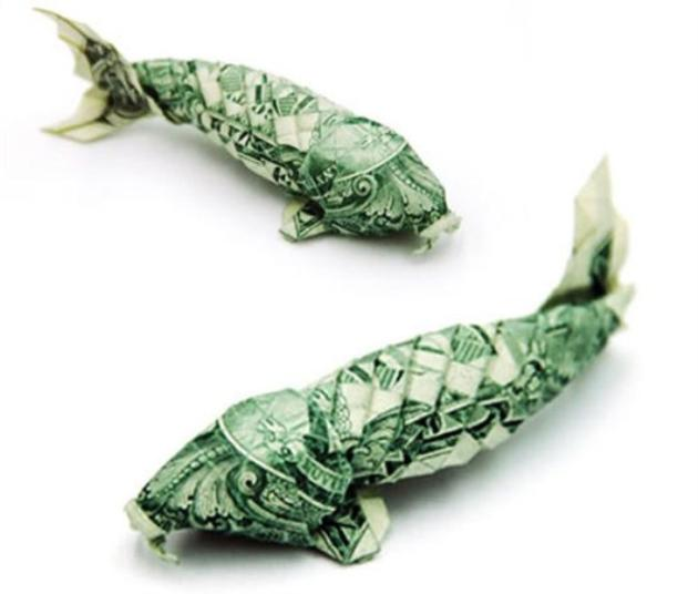 fish us dollar origami
