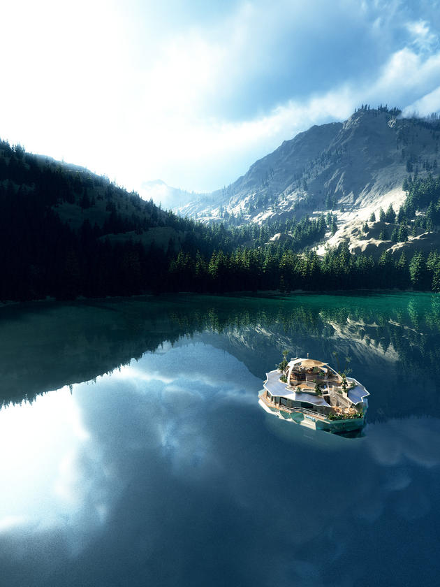 ORSOS Island in the mountain lake