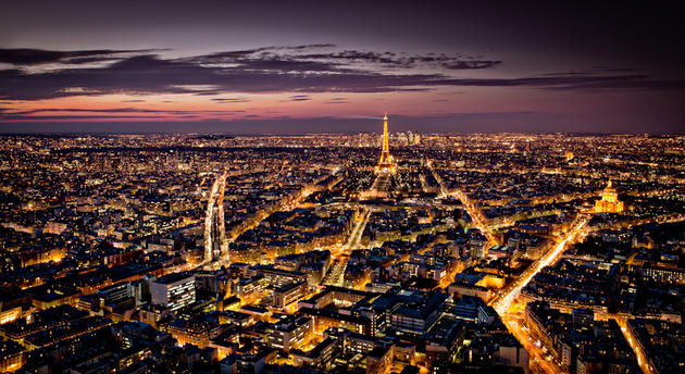 Beautiful paris from a tall building