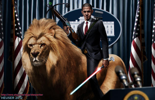 Obama on a lion with a light saber