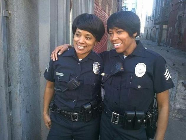 Regina King and stunt Double