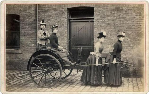 Old Weird Photos Women pulling carriage