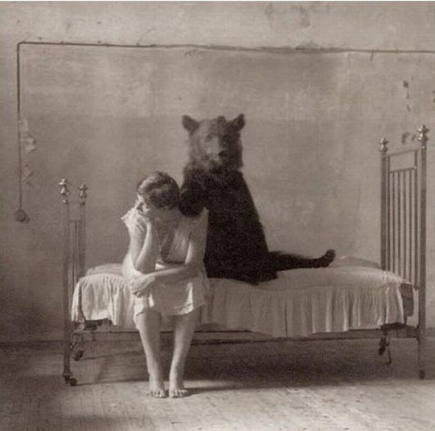 Old Weird Photos Bear hug