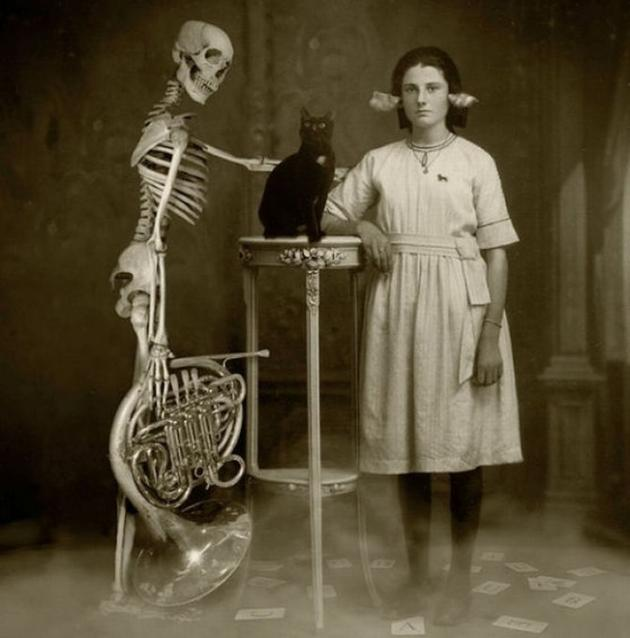 Old Weird Photos portrait with skeleton