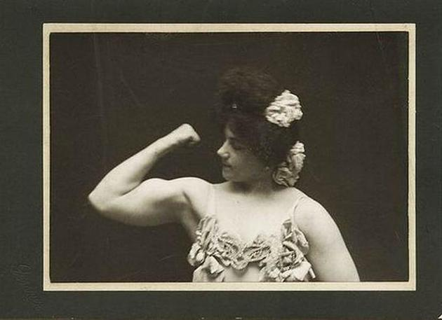Old Weird Photos Woman Flexing