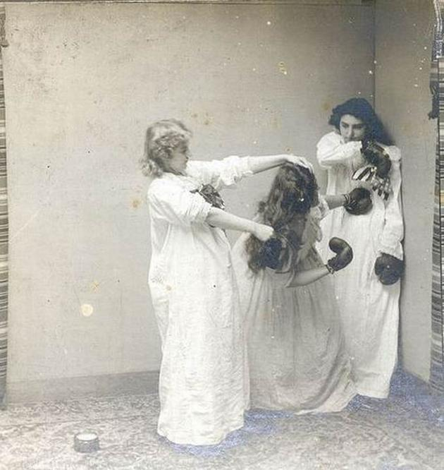 Old Weird Photos Girls Beating a girl