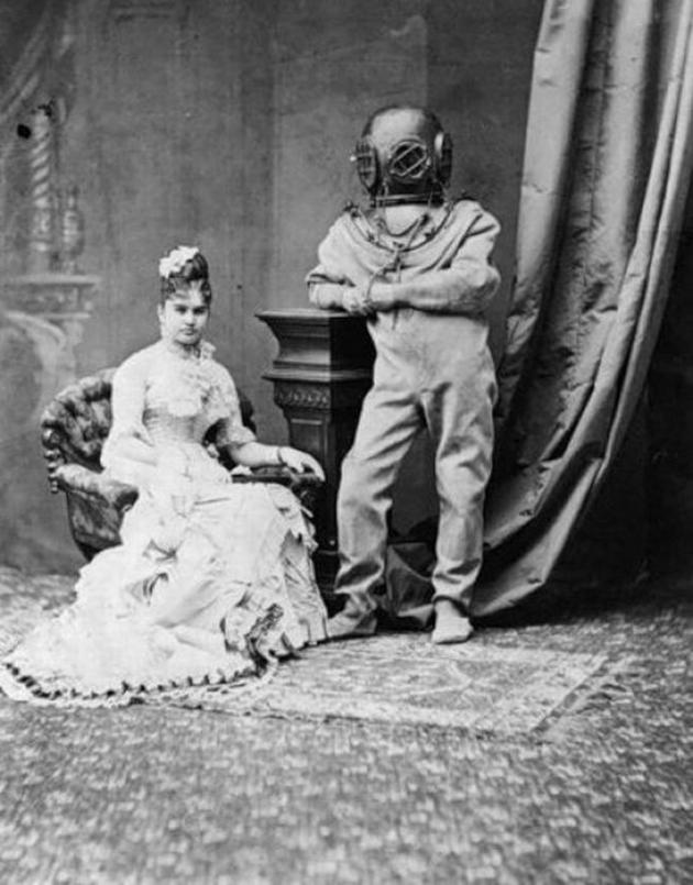 Old Weird Photos Scuba suit portrait