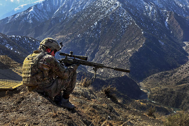 Sniper watching over a region in Afghanistan