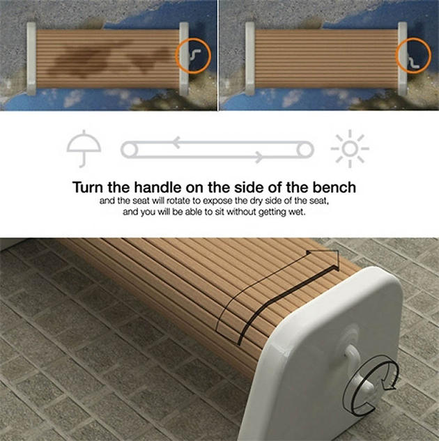 Flip Bench, never sit on wet again!