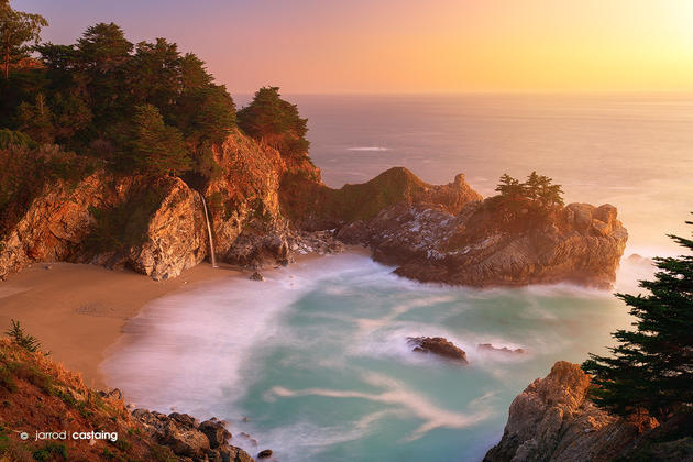 Sunset at McWay Falls, Big Sur, California, USA