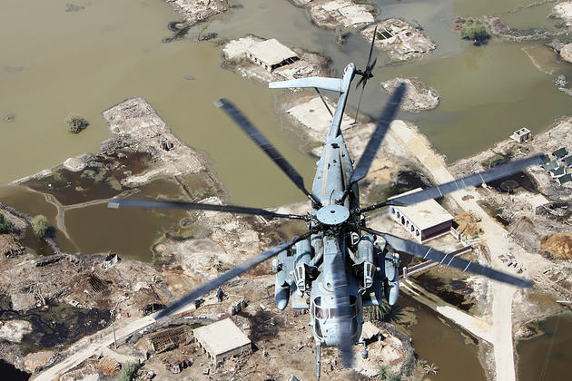 Super Stallion flying over Pakistan for Disaster Relief