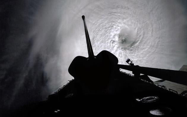 Shuttle Columbia over Typhoon Owen