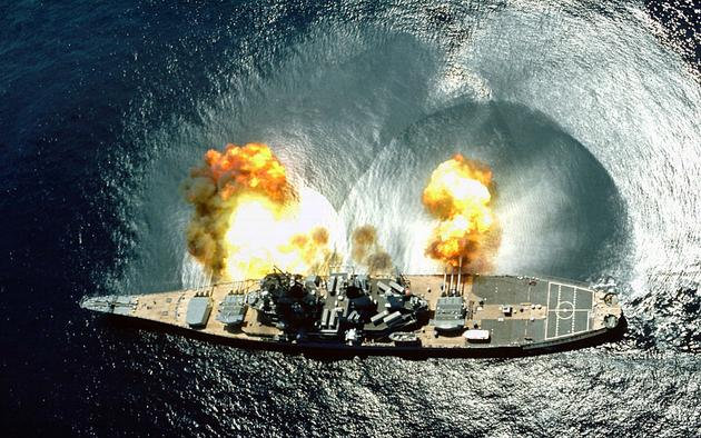 USS Iowa firing all of its guns during target practice