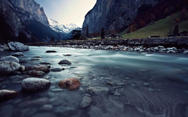 Switzerland Flowing River Photo by Matt Loiacono HD Wallpaper