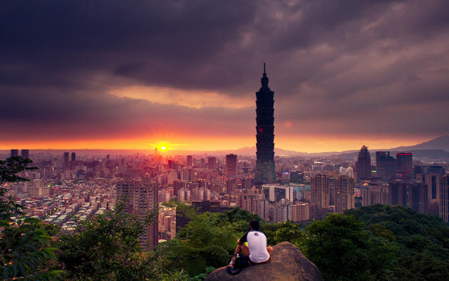 Warm Sunset Taipei Taiwan Background