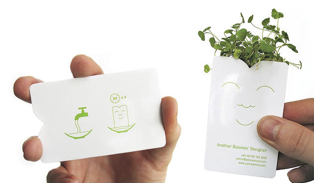 Unique green/growing business card by Jamie Wieck