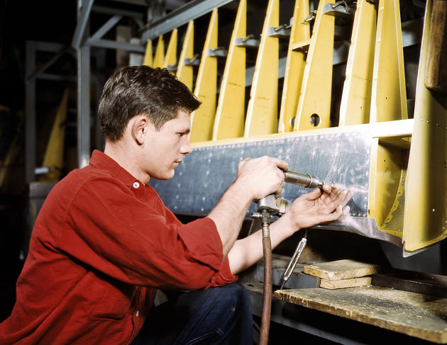 A riveter creating structural components