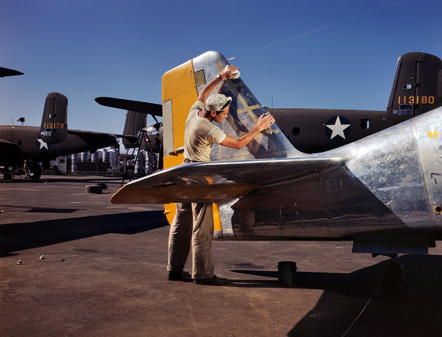 Preparing a P-51 mustang for paint