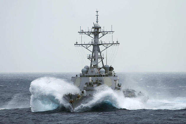 USS Curtis Wilbur at Rough Seas