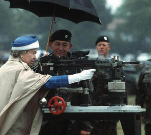 Queen Elizabeth firing the Enfield