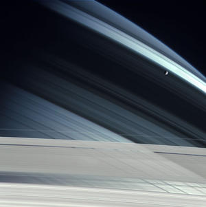 Mimas over Saturn