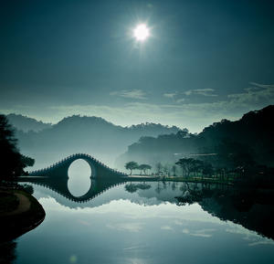 Moon Bridge, in DaHu Park in Taipei, Taiwan