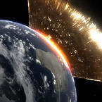 ASteroid collides with earth simulation