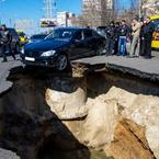 Wrecked sinkhole roads of Samara, Russia