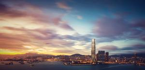 Beautiful Hong Kong Skyline at Sunset Wallpaper
