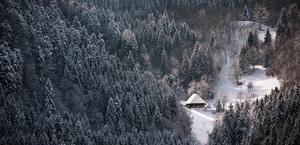House in the beautiful winter mountains