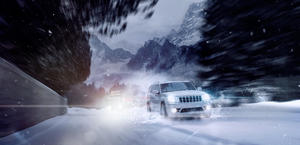 SRT-8 caught overtaking a truck somewhere in Alps HD wallpaper