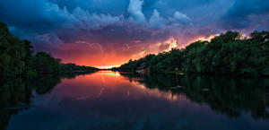 Stormy weather at Sunset HD Background