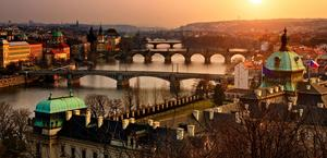 A beautiful sunset over Prague, Czech Republic