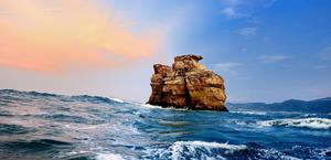 Cliffs in the midst of Waves by Clonebird HD Wallpaper