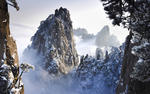 The stunning winter landscape in Huangshan China
