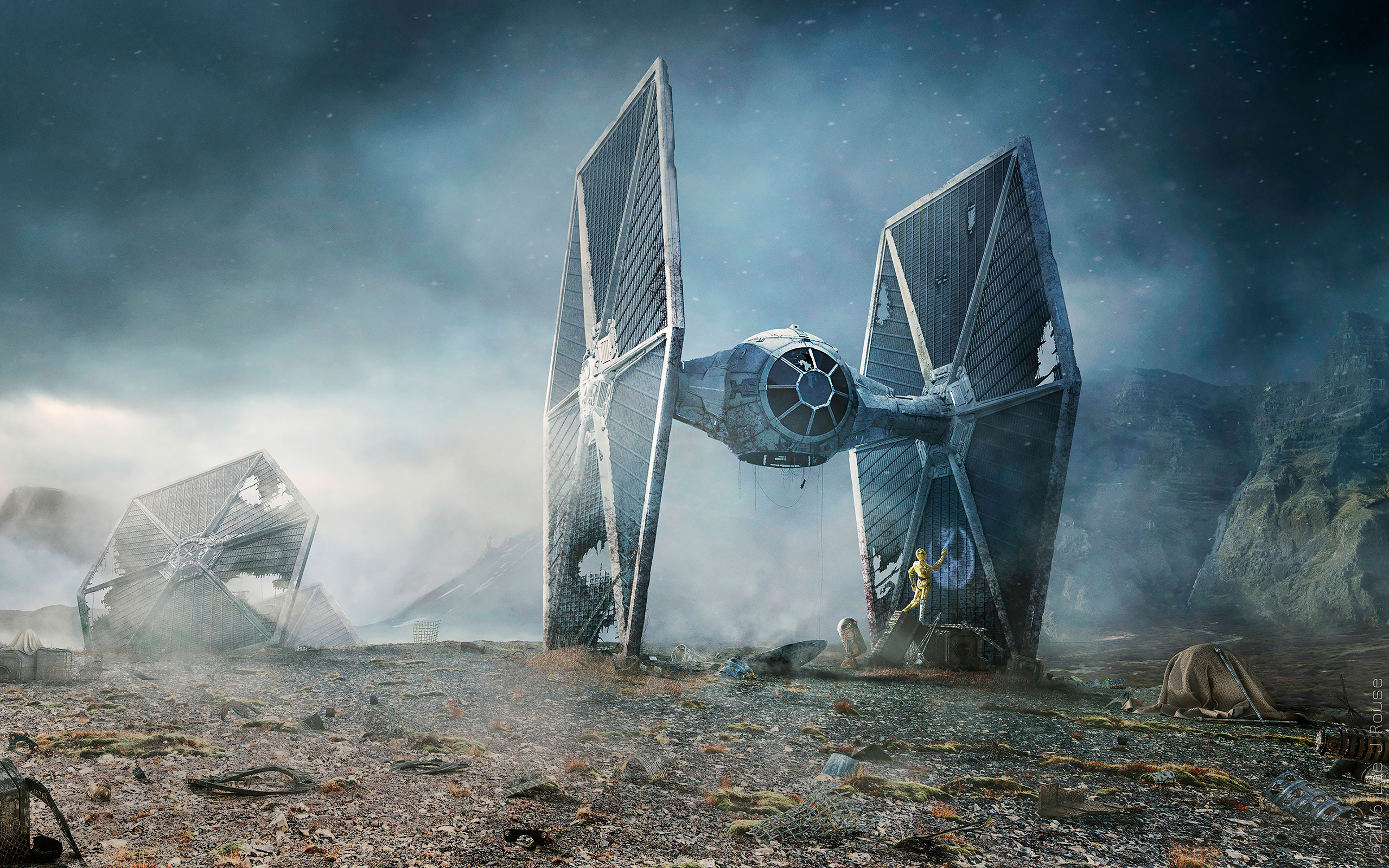 Daily Wallpaper Star Wars Tie Fighter Crash Landing I Like To Waste My Time
